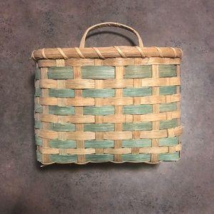 Vintage boho wall basket wicker woven